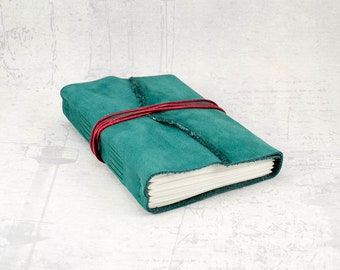 Leather notebook, travel journal, dark green leather journal, sketchbook, handmade journal, bullet journal, best friend gift
