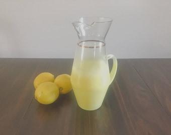 Blendo Yellow Glass Beverage Pitcher, Retro, Mid Century Kitchenware, Barware