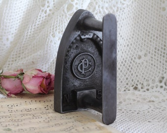 Vintage French Flat Iron - Sad Iron - Bookend - Doorstop - Number 5 - CP