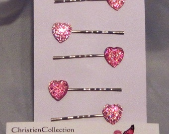 Heart Hair Pins, Bobby Pins, Floating Heart Hair Pins, Pink Heart, Teen Pin, Toddler Hair Pin,Flower Girl Hair Pins, Bridal Hair Accessories