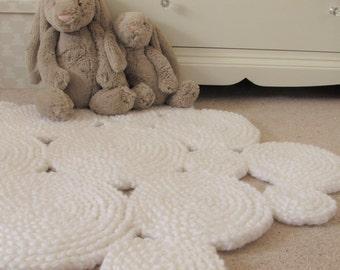 White Rug. Nursery Rug. Circle Rug. Crochet Rug. Neutral Rug. Round Rug. Ready to ship.
