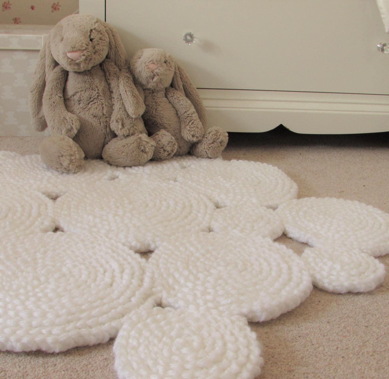 Weißen Teppich. Kinderzimmer Teppich. Kreis-Teppich.