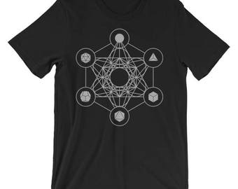 Metatron's Cube Sacred Geometry Shirt - unisex short sleeve t-shirt, geometric, shapes, seed of life, tattoo design, creation