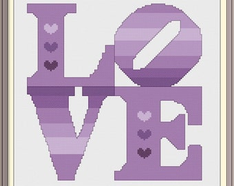 Love with Hearts in Purple Modern Cross Stitch Pattern PDF Chart Instant Download