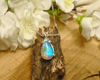 """Clear Sky Blue Ethiopian Fire Opal Necklace, Play Blues,  Sterling Silver, 2.83 Cts 15.80 x 9 mm or 5/8"""" Welo Extreme Fire AAA+++ Fire Opal"""