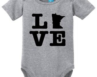 Minnesota Love Baby Bodysuit