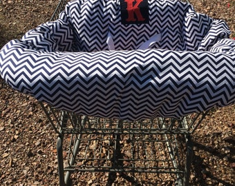 Embroidered, personalized, reversible, chevron shopping cart cover