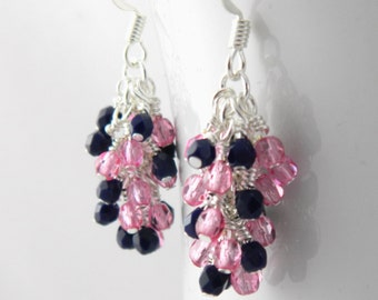 Rose Pink and Navy Blue Dangle Earrings with Sterling or Steel Ear Wires