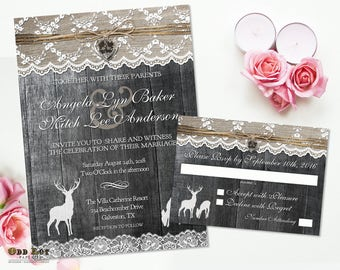 Country Rustic Deer Wedding Invitations Burlap and Lace Rustic Wedding Printable Invites set Cottage Chic Buck and Doe, Wood Burlap Lace DIY