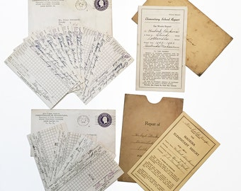 1940's Report Cards with Envelopes Pennsylvania Lottsville, PA, State Teacher's College,Lock Haven Madeira Elementary