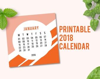2018 Printable Calendar   2018 Calendar   2018 Wall Calendar   Desk Calendars 2018   Wall Calendar 2018   Orange Pattern   PDF   Digital