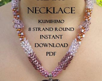 Kumihimo Pattern - Intermediate - Instructions with Illustrations - Purple Heart Necklace - Instant Download pdf - Beaded Pattern