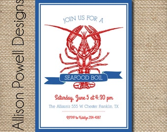 Seafood Boil Invitation, Southern Seafood Boil, Lobster Boil - Print your own