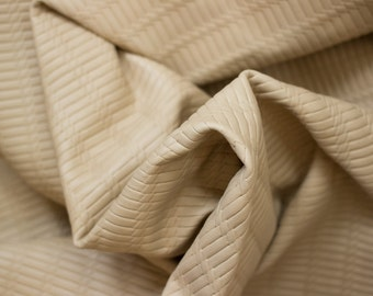 Embossed Basket Weave Leather - 100% Genuine Cow Hide Cut - 24 inches X 6.5 inches - Cream Natural