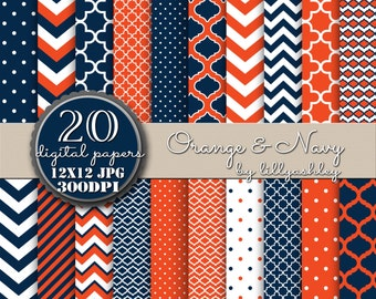 Digital Paper Pack of 20--12x12 JPG-- Includes chevron, moroccan quatrefoil, polka dots, orange, navy, and white! Printable paper background