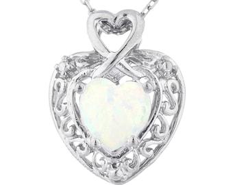 Opal Heart Design Pendant .925 Sterling Silver