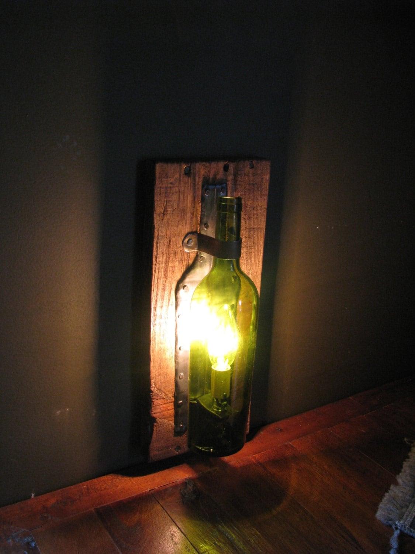 wine lighting. Wine Bottle Sconce, Upcycled Light, Lighting,Custom Made Industrial Lighting