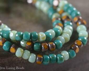 Turbo Bits: 4mm Czech Glass Tri-cut Beads, 50 Czech Glass Picasso Seed Beads, 6/0 Seed Beads