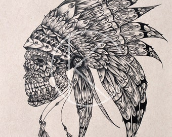 Original Pen & Ink Drawing of Ornate Tribal Skull and Headdress