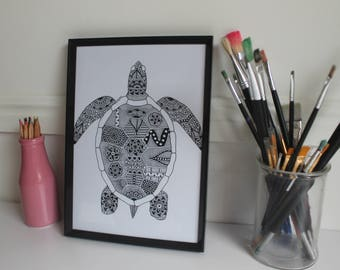 Zentangle Turtle Print