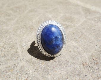Sodalite stone Adjustable ring