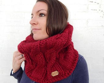 Made to Order: Red, Sparkly, Cable Knit Cowl - Acrylic/Wool Blend