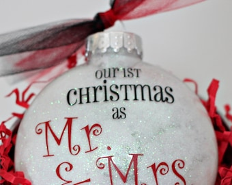 Mr. & Mrs. First Christmas Personalized Glitter Ornament - Our First Christmas As Ornament - Marriage First Christmas Ornament