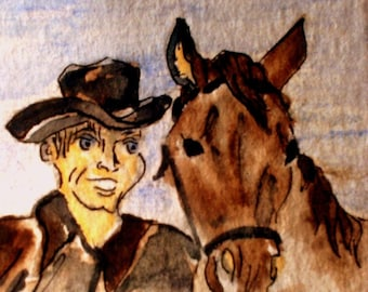 ACEO print on heavy card stock of a cowboy and his horse