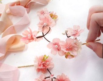 cherry blossom hair pins, pink flower hair pin, cherry blossom wedding hair accessories, bridal hair pins, pink hair clips, pink hair piece