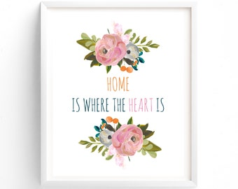 Home Is Where The Heart Is Printable, Wall Art, Download, Poster, Home Decoration