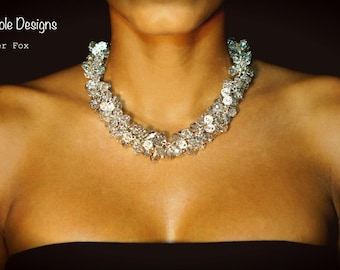 Silver Crystal Cluster Wire Wrapped Necklace
