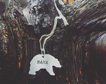 Mama bear necklace Custom Necklace Hand Stamped Jewelry Mama Jewelry - Personalized jewelry - Special Gift - Bear lover - Christmas gift mom