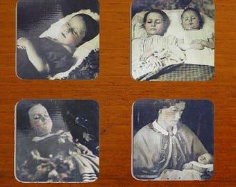 Post-Mortem photo coaster set. Set of 4 coasters with four different post mortem pictures. Memento Mori Inc