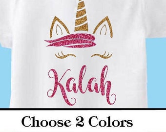 Personalized Name Unicorn -Vinyl Iron On transfer Choose your Colors- Glitter decal