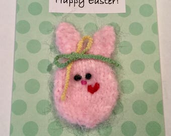 Handcrafted Easter Card with Handknit Fluffy Pink Bunny with Lined and Embossed Envelope and Confetti!