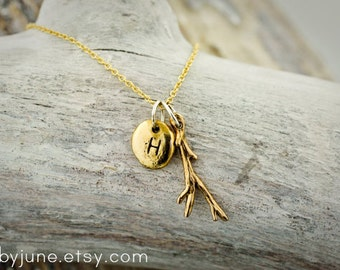 Gold Charm Necklaces   Bronze Twig and Pebble Charms on 14k Gold-fill Chain Necklace