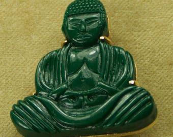 Mid Century Dark Green Buddha Gold Tone Brooch