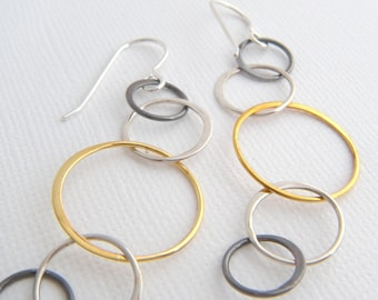long mixed metals earrings tiered circles chain dangle brass sterling silver lightweight dangle leverback hook modern geometric jewelry gift