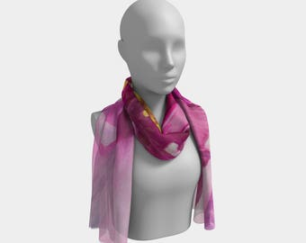 SCARF- Pink Flower, Watercolor Painting on Scarf