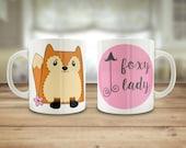 Foxy lady mug, Cute fox m...