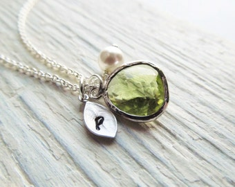 Peridot Necklace, Silver August Birthstone Jewelry, Initial Necklace, Green Jewelry, August Birthday Jewelry Gift, Personalized Necklace