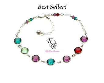 Birthstone Bracelet - Mothers Bracelet - Sterling Silver Bracelet - Birthstone Jewelry - Grandmother Bracelet - Mothers Jewelry - Mom Gifts
