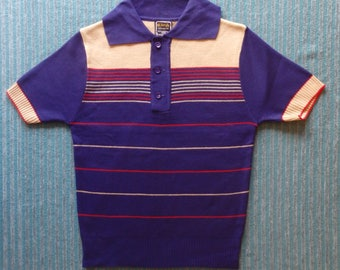 """Mid Century Men's Knitwear. Polo Top, Short Sleeves.Size 38"""" Chest"""