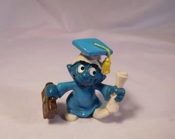 """Vintage 1980 Smurf """"Graduate"""""""