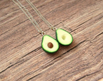 Avocado Necklaces - Best Friend Necklaces - BFF Necklaces - Food Jewellery - Handmade in UK with Polymer Clay