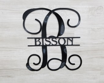 Monogram Letter & Name Striked Thru Center (Home Decor, Wall Art, Metal Art, {Can Be Personalized})