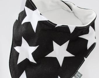 Black with white star baby bib. bandana Scarf. drool bib. Fits infant to toddlers
