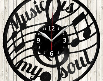 Music is my soul Vinyl Wall Clock Handmade Art Decor Your Room Original Gift 1225