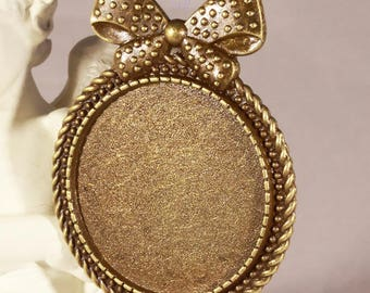 bronze fancy + 30mm glass cabochon 1 brooch pendant
