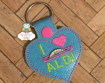 Aldi Quarter Keeper Keychain, I Love Aldi Keychain,Aldi Keychain, Quarter Keeper Keychain, Keychain, Cart Quarter Keeper, Cart Quarter